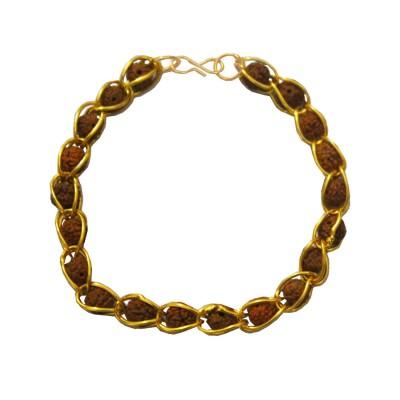 Gold:Brown Rudraksha Design Bracelet