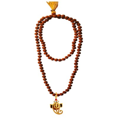Menjewell Spiritual Collection Multicolor Rudraksh 108 Beads Mala With Stone Studded Lord Vakratunda Design Pendant Necklace Mala