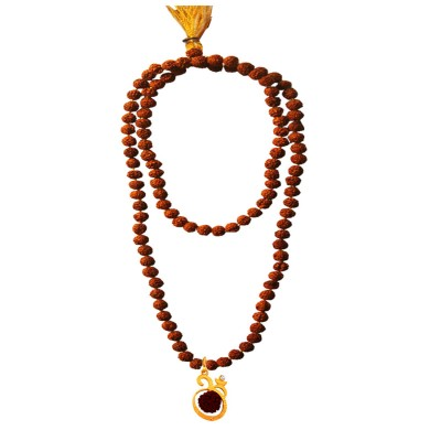 Menjewell Spiritual Collection Multicolor Rudraksh 108 Beads Mala With Lord Om Design Pendant Necklace Mala