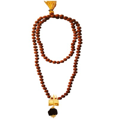 Menjewell Spiritual Collection Multicolor Rudraksh 108 Beads Mala With Lord Shiva Trishul Damru Design Pendant Necklace Mala