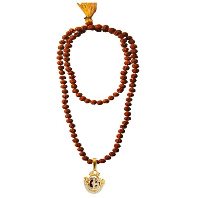 Menjewell Spiritual Collection Multicolor Rudraksh 108 Beads Mala With Stone Studded Lord Om Design Pandent Necklace Mala