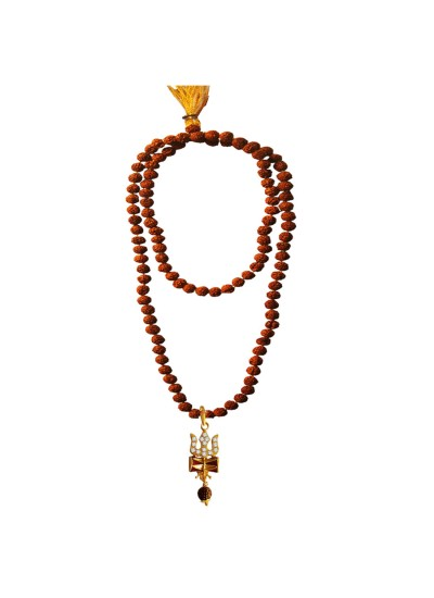 Menjewell Spiritual Collection Multicolor Rudraksh 108 Beads Mala With Stone Studded Lord Shiva Trishul Damru Design Pendant Necklace Mala
