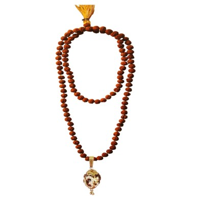 Menjewell Spiritual Collection Multicolor Rudraksh 108 Beads Mala With Stone Studded Lord Om Design Pendant Necklace Mala