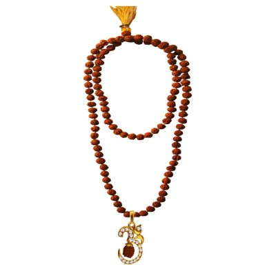 Spiritual Collection Multicolor Rudraksh 108 Beads Mala With Stone Studded Lord Om Design Pendant Necklace Mala