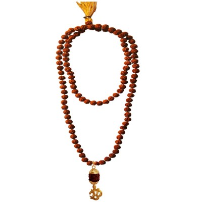Menjewell Spiritual Collection Multicolor Rudraksh 108 Beads Mala With Lord Om Design Pandent Necklace Mala