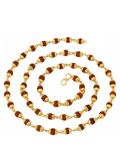 Menjewell Rudraksha Jewellery Colllection Gold & Brown Gold Cap Rudrksha Slim Japa Mala Mala