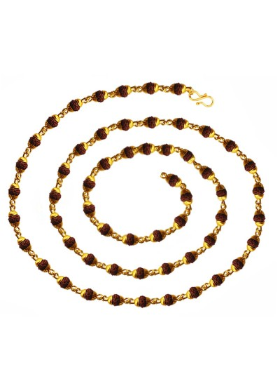 Menjewell Religious Rudraksha Mala With Gold Plated Caps Yellow Gold Plated Wood Necklace