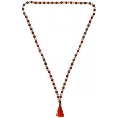Brown::White  rudraksha with Crystal Mala