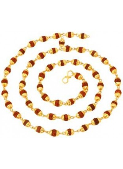 Brown  Rudraksha Mala With Gold Cap Necklace Chain