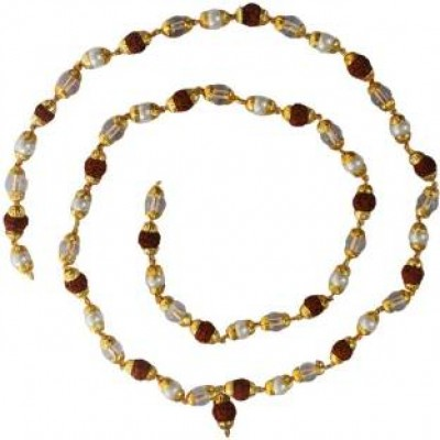 Multicolor  Rudraksha,Crystal,Peal Mala With Gold Cap Chain