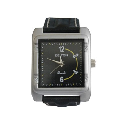 Menjewell Stylish Black Leather Belt Silver Square Dial (Water Resistance) DELTON Watch - For Men