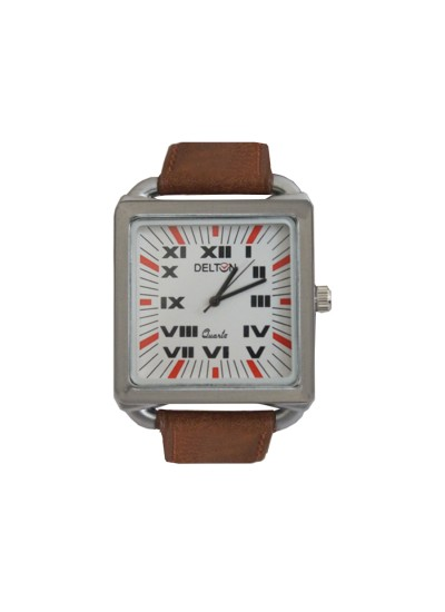 Menjewell Trendy Brown Leather Belt Silver Square Dial (Water Resistance) DELTON Watch - For Men