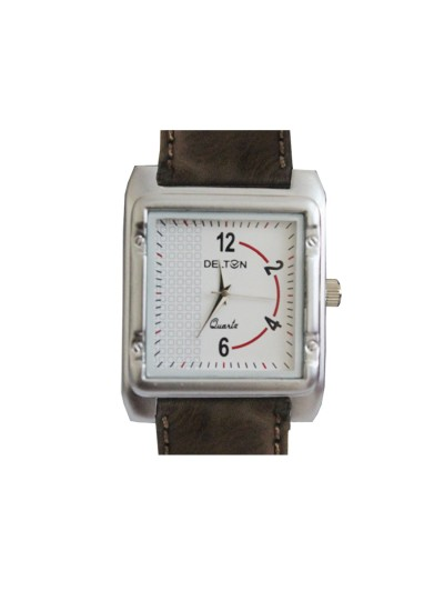 Menjewell Trendy Leather Brown Belt Square Dial (Water Resistance) Watch - For Men