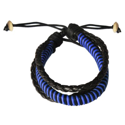 Mens Jewellery Navy Blue::Black  Multilayer  Adjustable Cuff Fashion Bracelet