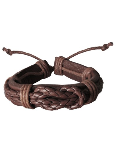 Mens Fashion Brown  Braided Adjustable Fashion Leather Bracelet