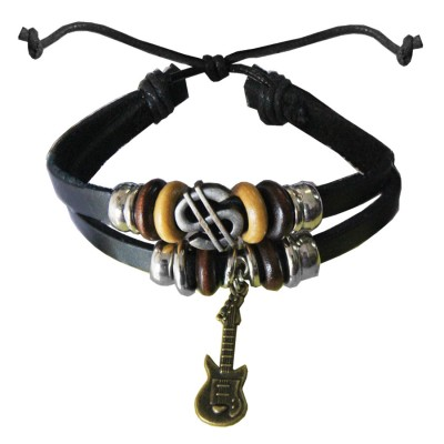 Black  Guitar Charm Fashion Art PU Leather Bracelets