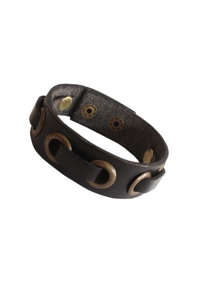Menjewell Stylish Genuine Leather Black::Bronze Classic Punk Braided Rope Wristband Bracelet For Men