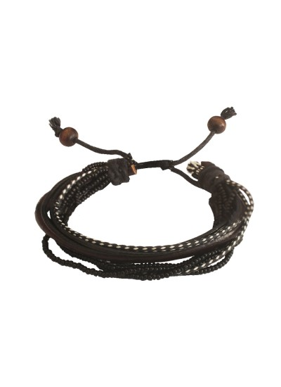 Menjewell Stylish Genuine Leather Multicolor  Multilayer Braided Black Beads & Rope Bracelet
