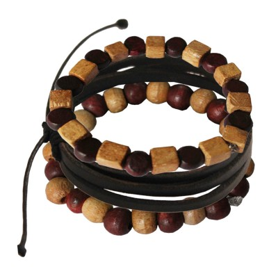 Multicolor Wood with Leather Combo Set Wooden Bracelet