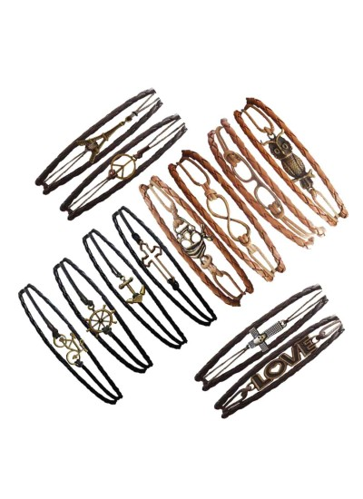 Menjewell Genuine Leather Multicolor Braid Wrap Rope With Different Design Combo Bracelet (set of 12)