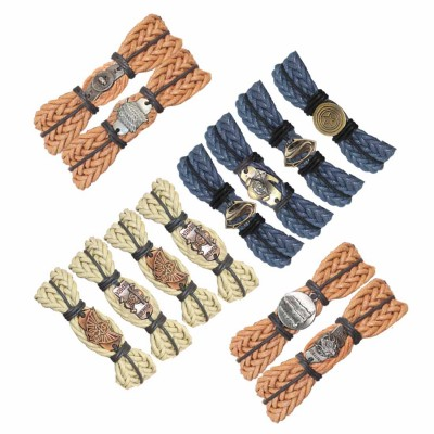 Menjewell Genuine Leather Multicolor Braid Wrap Rope With Different Design Combo Bracelet  Set of 12 bracelets