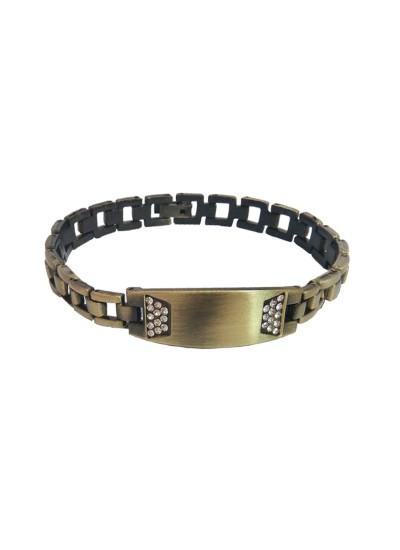 Menjewell Men's Jewellery Rhinestone With ID Plate Link Design Bracelet For Men