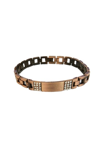 Menjewell Men's Jewellery Rhinestone With ID Plate Link Design For Men (Copper)