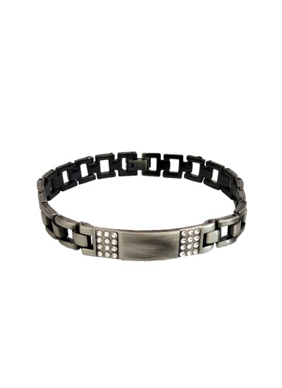 Menjewell Men's Jewellery Rhinestone With ID Plate Link Design For Men (Grey)
