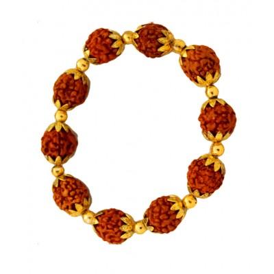 Shiva Religious Rudraksh With Gold Ashtadhatu Cap Design Rudraksha Bracelet