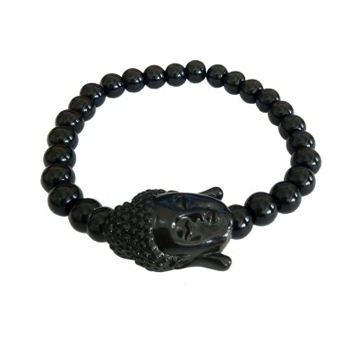 Menjewell Beads Collection Black Bhudha Head Onyx Beads style Beaded Bracelet For Men