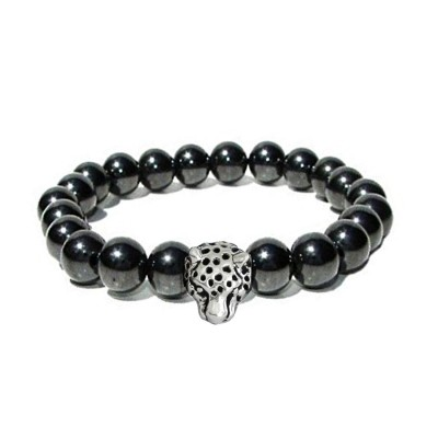 Menjewell Beads Collection Black::Silver Lion Head Hamatite Beads Style Beaded Bracelet For Men