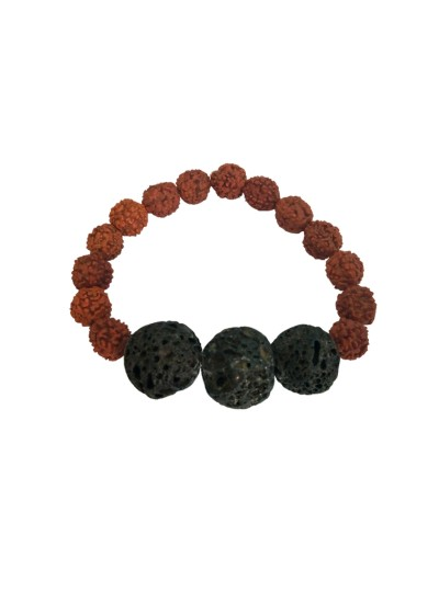Menjewell latest style Collection Black::Brown Handmade Lava Stone With Rudraksha Beads Yoga Bracelet For Men