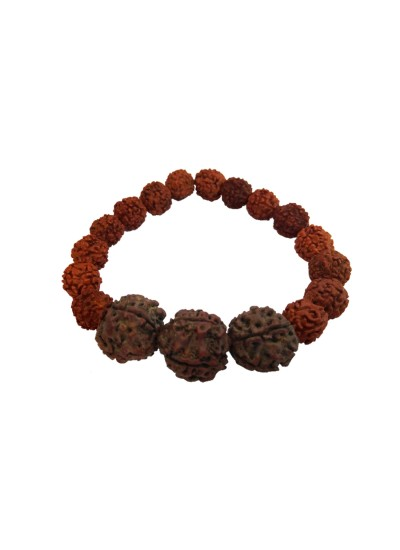 Menjewell latest style Collection Brown Handmade Hindu Yoga Meditation Rudraksha Bracelet For Men