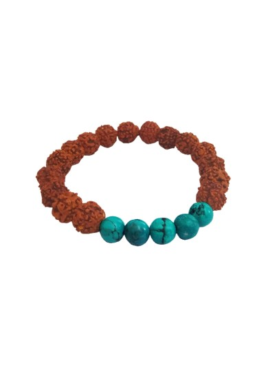 Menjewell latest style Collection Blue::Brown Handmade Rudraksha With Turquoise Beads Bracelet For Men