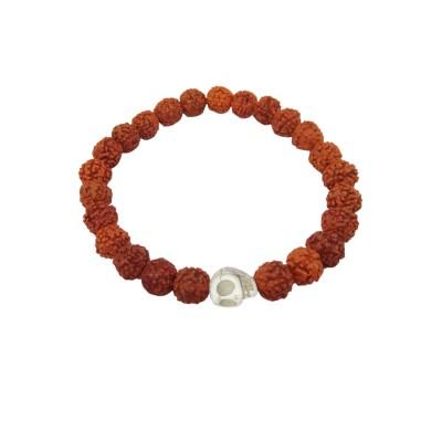Menjewell latest style Collection White::Brown Handmade Rudraksha Beads With Skull Design Bracelet For Men