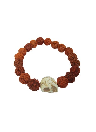 Menjewell latest style Collection White::Brown Handmade Rudraksha Beads With Skull Design Bracelet For Men