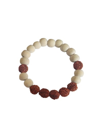 Menjewell latest style Collection White::Brown Tulsi Wood Meditation Beads With Rudraksha Design Bracelet For Men