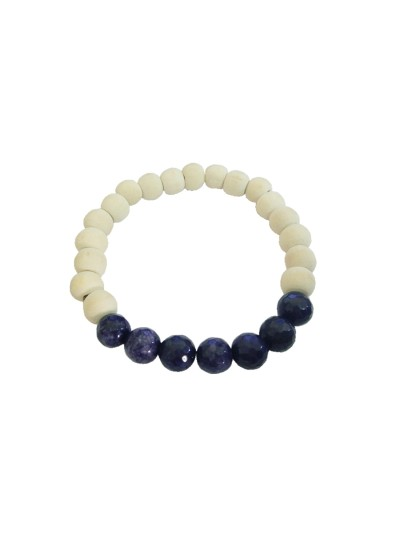 Menjewell latest style Collection Multicolor Tulsi Wood Meditation Beads Tanzania stone Bracelet For Men