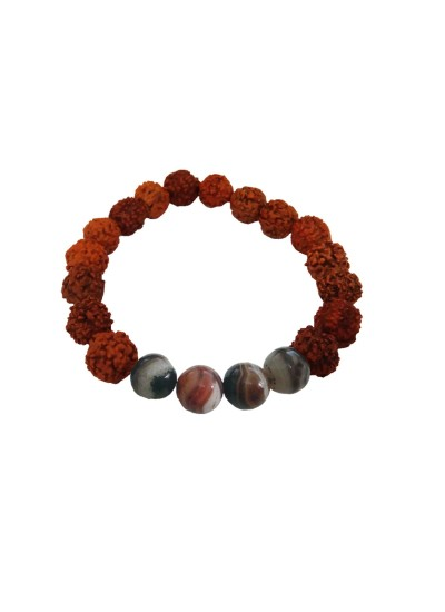 Menjewell latest style Collection Multicolor Handmade Natural Botswana Agate Beads With Rudraksha Design Bracelet For Men
