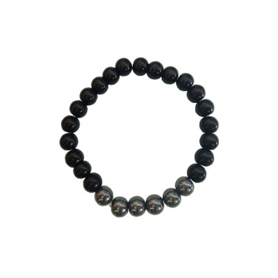Trendy Collection Black Magnetic Round Beads Stretchable Beaded Bracelet