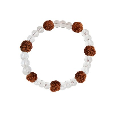 Religious & Trendy Collection White::Brown Round Transparent Beads & Rudraksha Design Bracelet