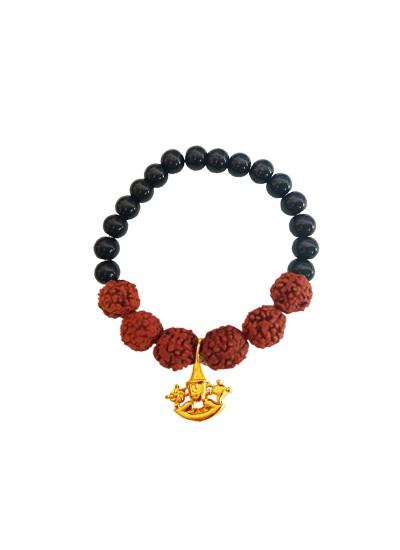 Beads & Rudraksha With Lord Balaji Black Ocean Jade Stone Rudraksha  Bracelet
