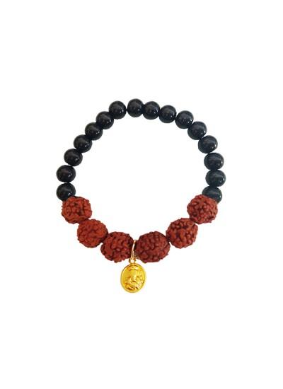 Beads & Rudraksha Lord Ganesha Black Ocean Jade Stone Beads Rudraksha Bracelet