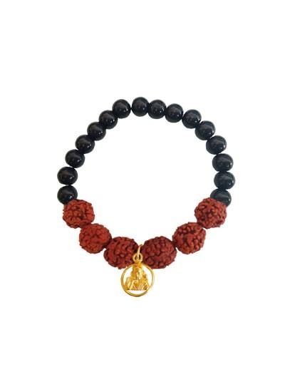 Beads & Rudraksha With Lord Sai Baba Black Ocean Jade Stone Beads Rudraksha Bracelet