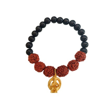 Beads & Rudraksha With South Indian Lord Ayyappa Swami Black Ocean Jade Stone Beads Rudraksha Bracelet