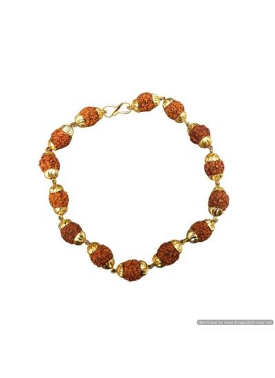 Religious Gold Cap Design Rudraksha  Bracelet