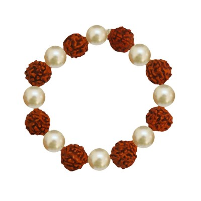 Menjewell Religious Jewellery Brown::White Panch Mukhi wood Rudraksha and pearl Combination Rudraksha Bracelet
