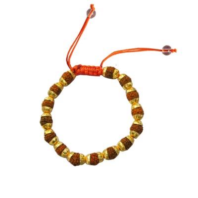 Menjewell Fashion Jewellery Fancy Gold::Brown Rudraksha Bracelet
