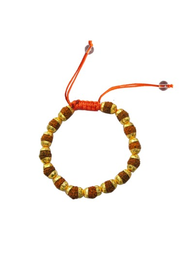 Menjewell Fashion Jewellery Fancy Gold::Brown Rudraksha Bracelet