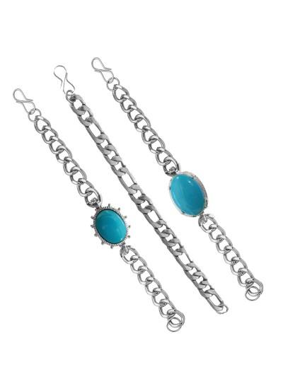 Menjewell New Classic Collection Blue::Silver Salman Khan Style Link Chain Design Bracelet Combo For Men & Boys